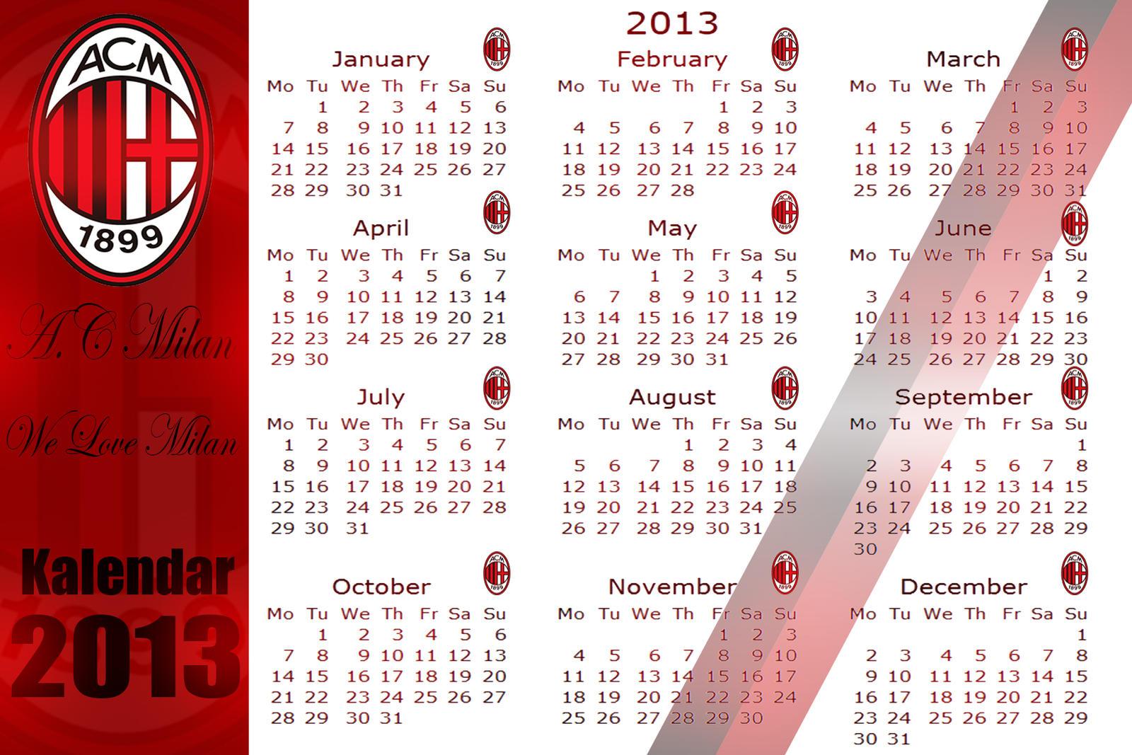 Calendario Ac Milan.Ac Milan Calendario By Amirmilche On Deviantart