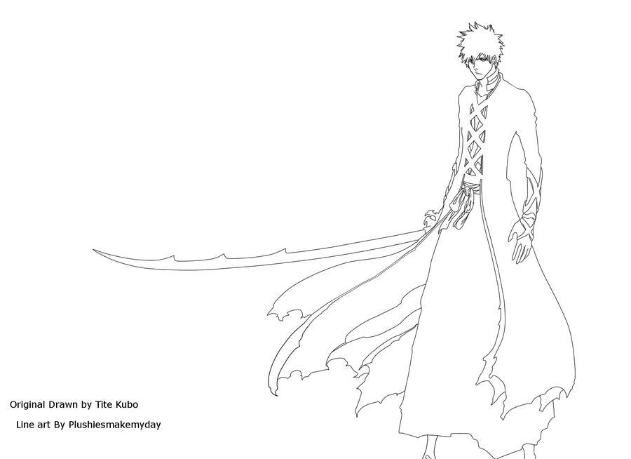 ichigo coloring pages - ichigo 39 s new bankai lineart by plushiesmakemyday on deviantart