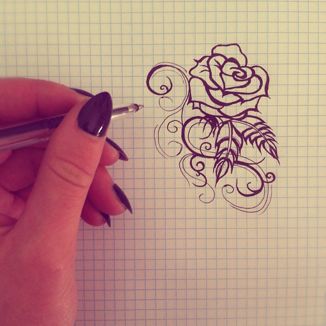 Simple rose tattoo design by kaylielou on deviantart for Easy rose tattoos