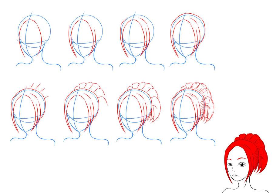 Как рисовать причёску карандашом