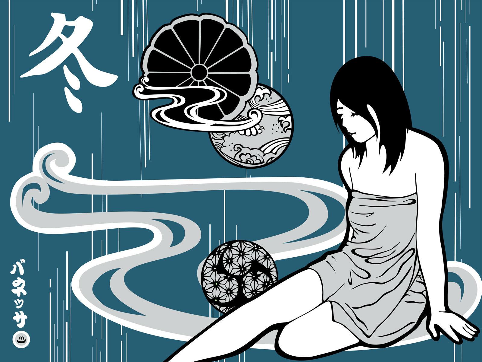 Winter Onsen -vector- by nessaneko