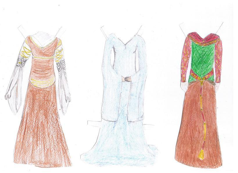 Paper Dolls: 3 Eowyn Gowns by Aramis-Arya on DeviantArt