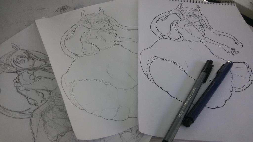 Line Art Dragon : Kobayashi san no dragon maid tohru ink lineart by hanajoka on