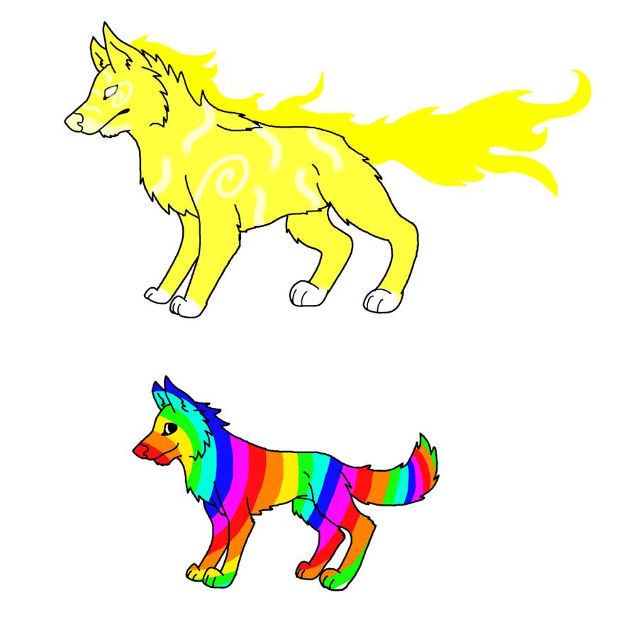 Rainbow Fox And Light Wolf By