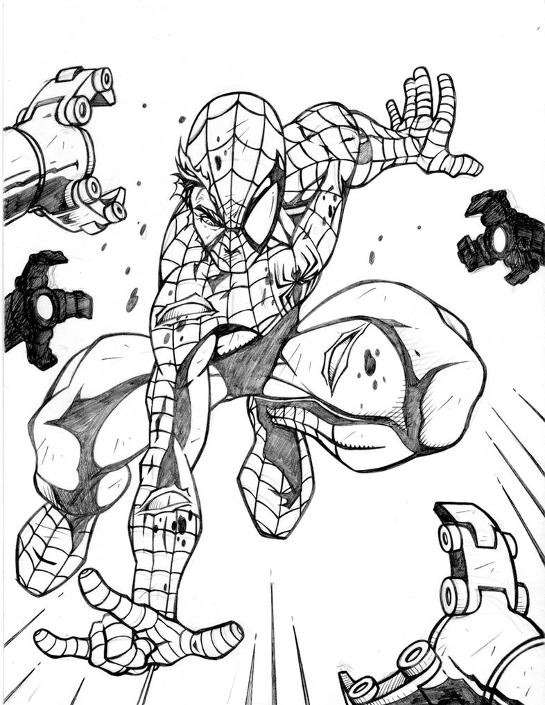 Online coloring spiderman - Spiderman Vs Octopus By Charles77