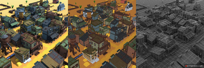 3d Pixel Western Town Set 02