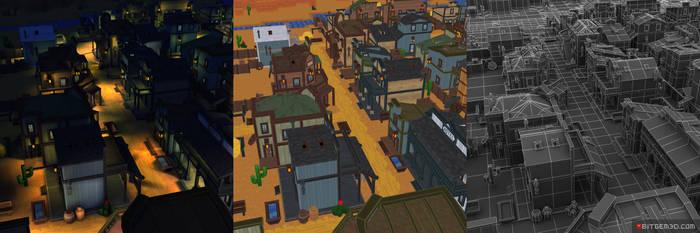 3d Pixel Western Town Set 03