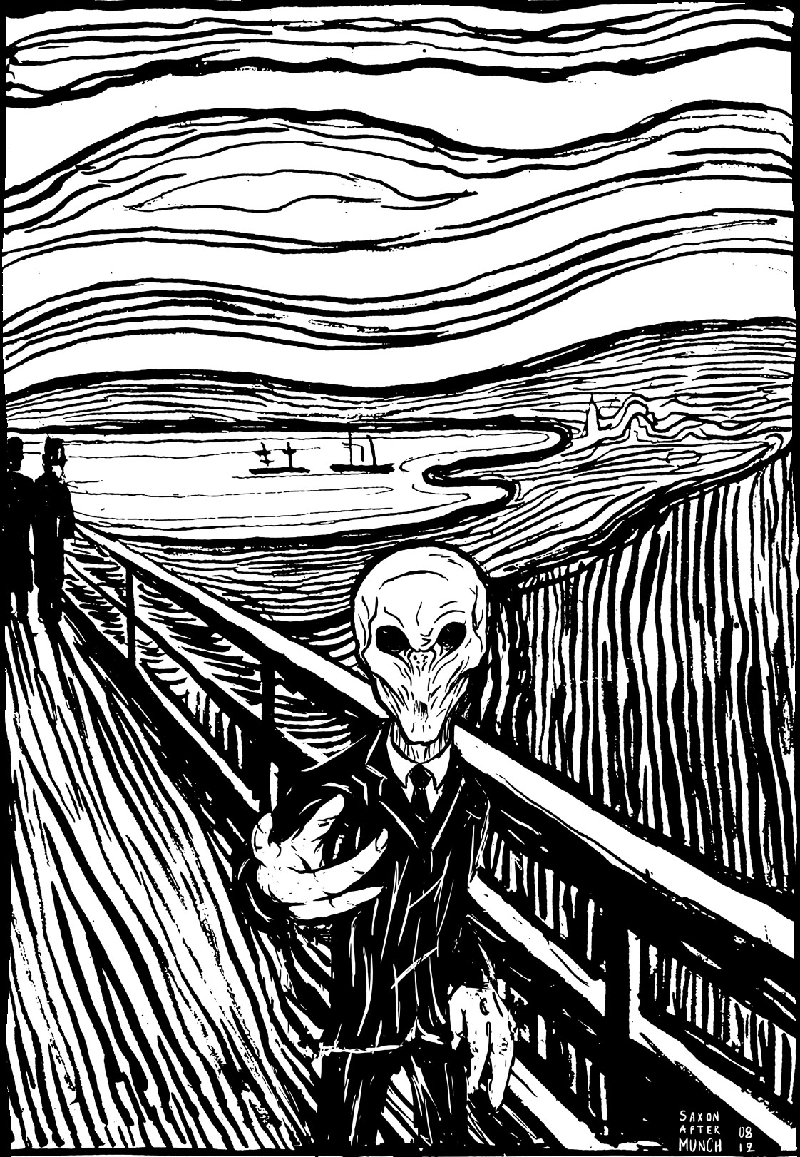 Edvard Munch The Scream Black And White