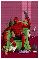 Hellboy and the catz by Asaph