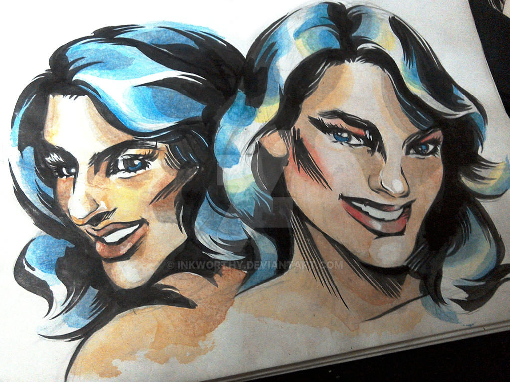Blue Haired Beauties by InkWorthy