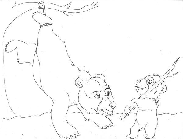 One Line Art Bear : Brother bear line art by lilipop on deviantart