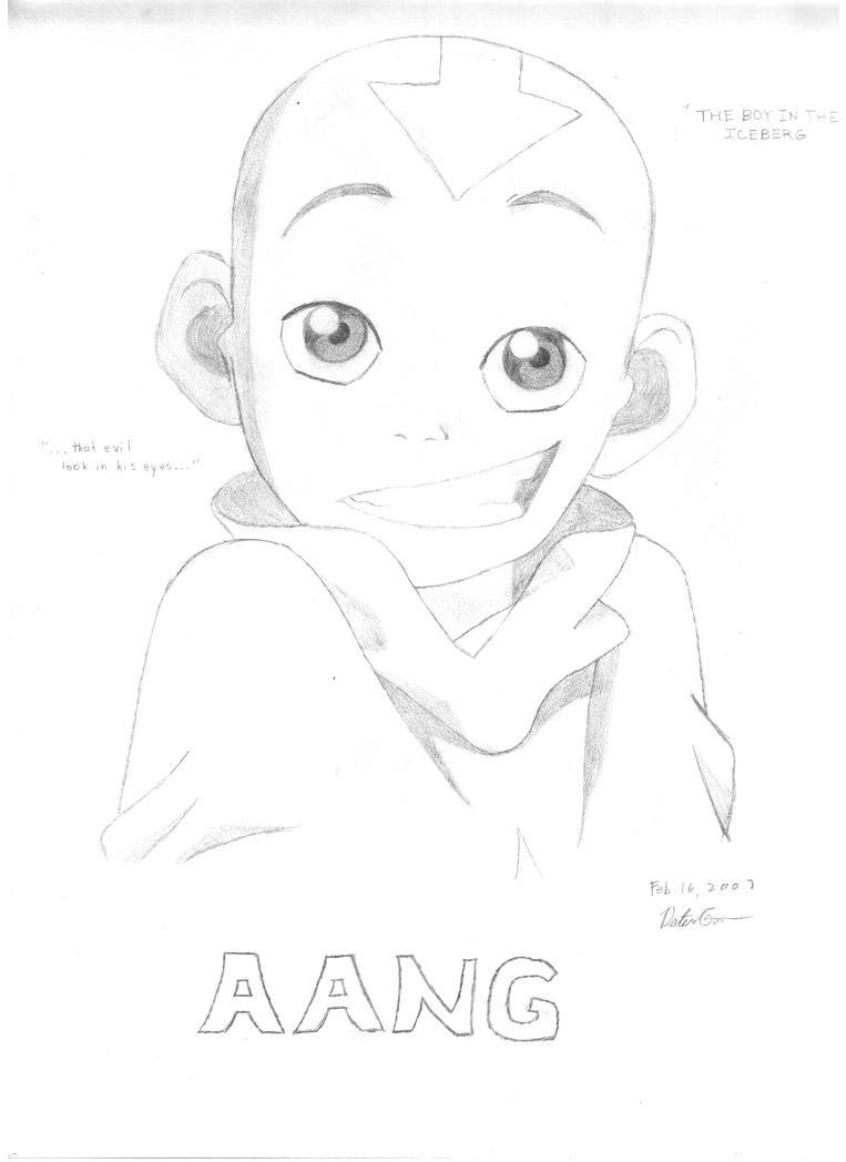 avatar aang sketch by petergao