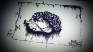 Heart Fucking Brain Pen Drawing