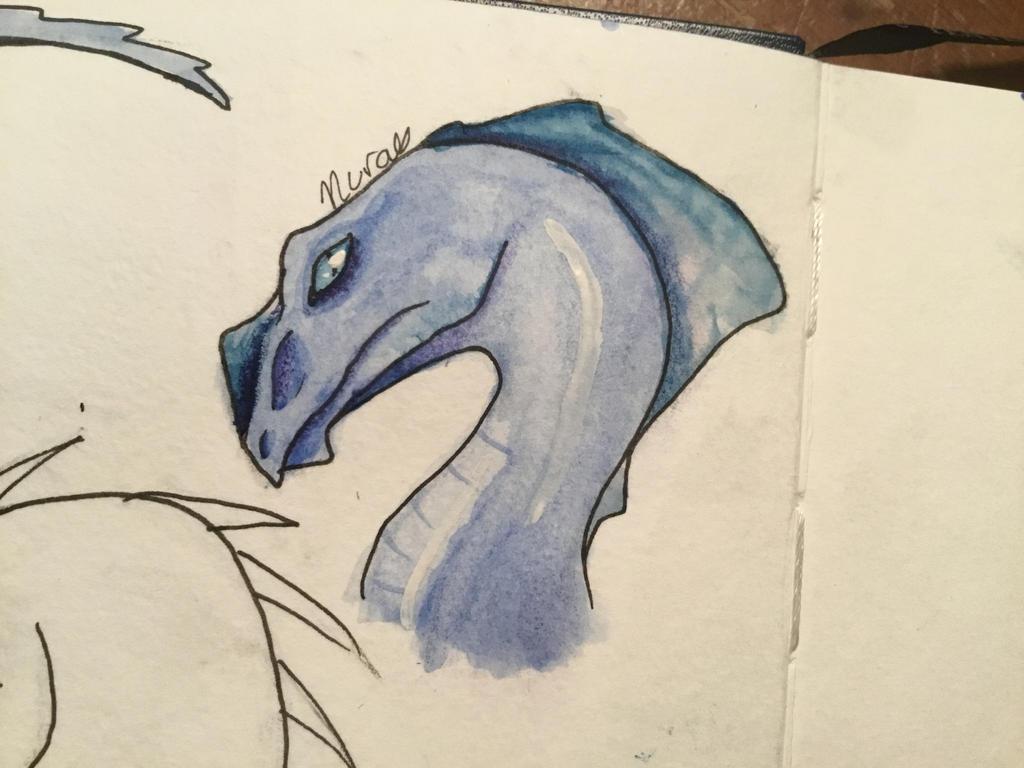 Amphibious watercolor dragon