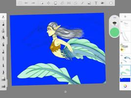 Daenerys Targaryen as a mermaid wip