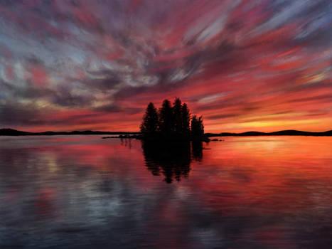 Painting - Sunset @ Lake Pielinen, Finland