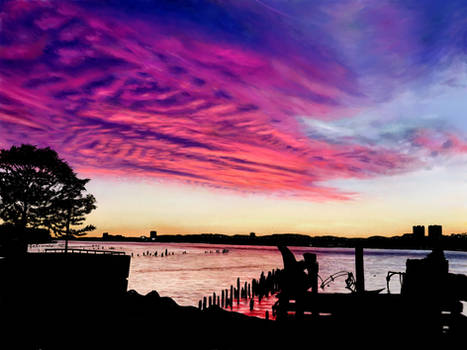 Painting - Sunset over the Hudson River