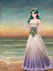 Sailor Moon - Kaioh Michiru in Wedding Dress by TheKissingHand