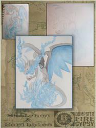 Watercolor giftart CharizardX by dumpsterfiregypsy