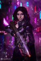 Cyberpunk Yennefer from Witcher cosplay