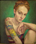 Girl with tattoo..oil on linen