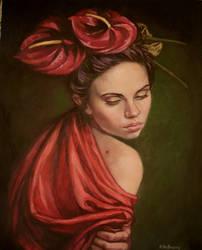 Flamingo..oil on linen by xxaihxx