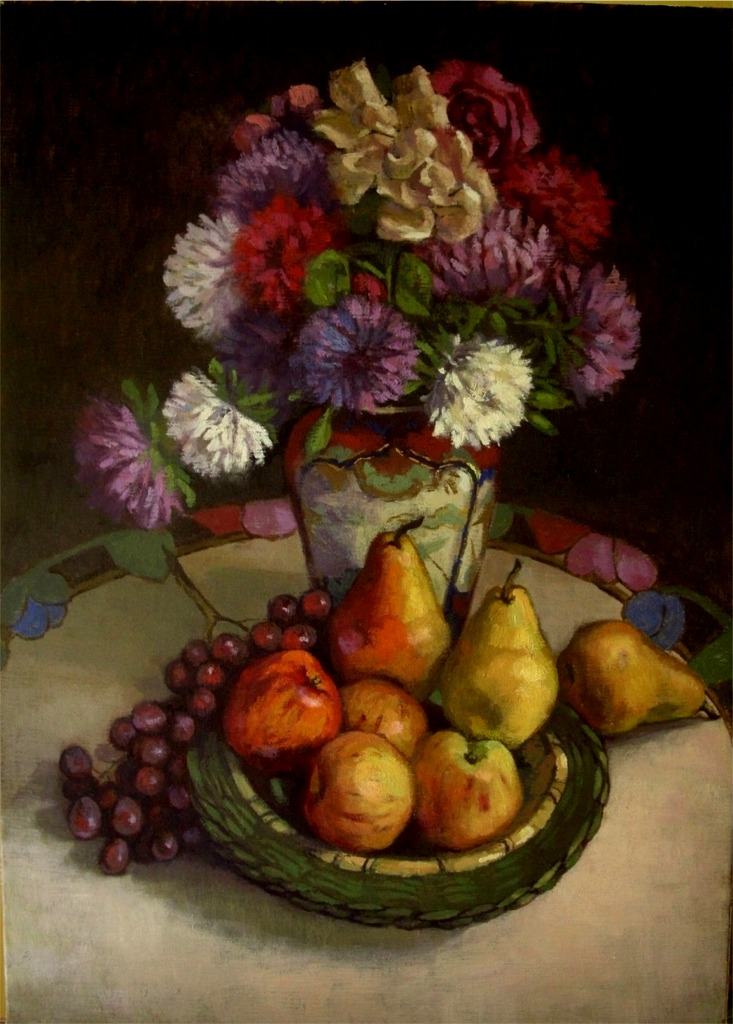fruit and flowers,oil on linen by xxaihxx