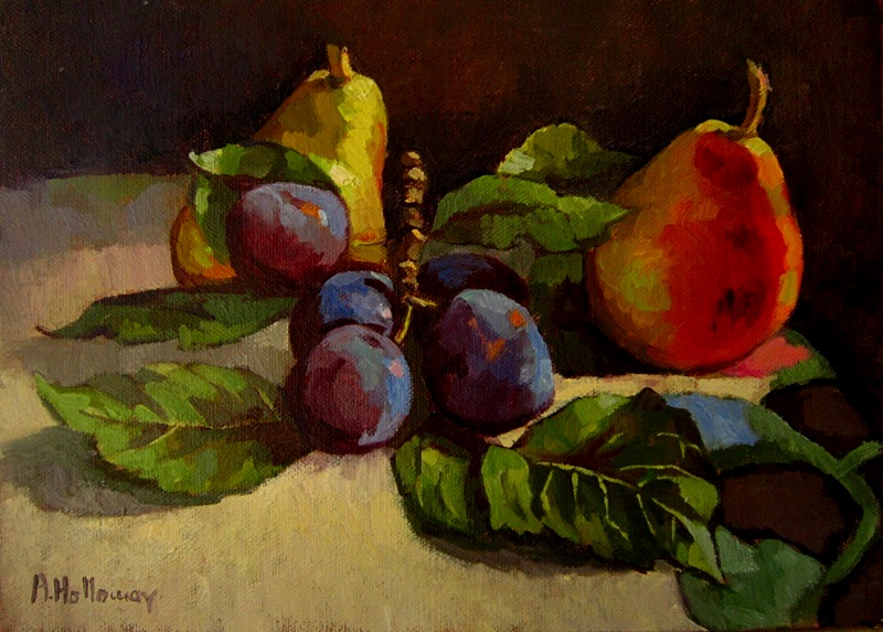 Plums @ Pears..oil on linen by xxaihxx