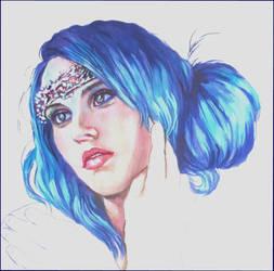 Blue haired beauty..watercolour by xxaihxx