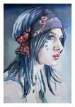 Hippy girl..watercolour by xxaihxx