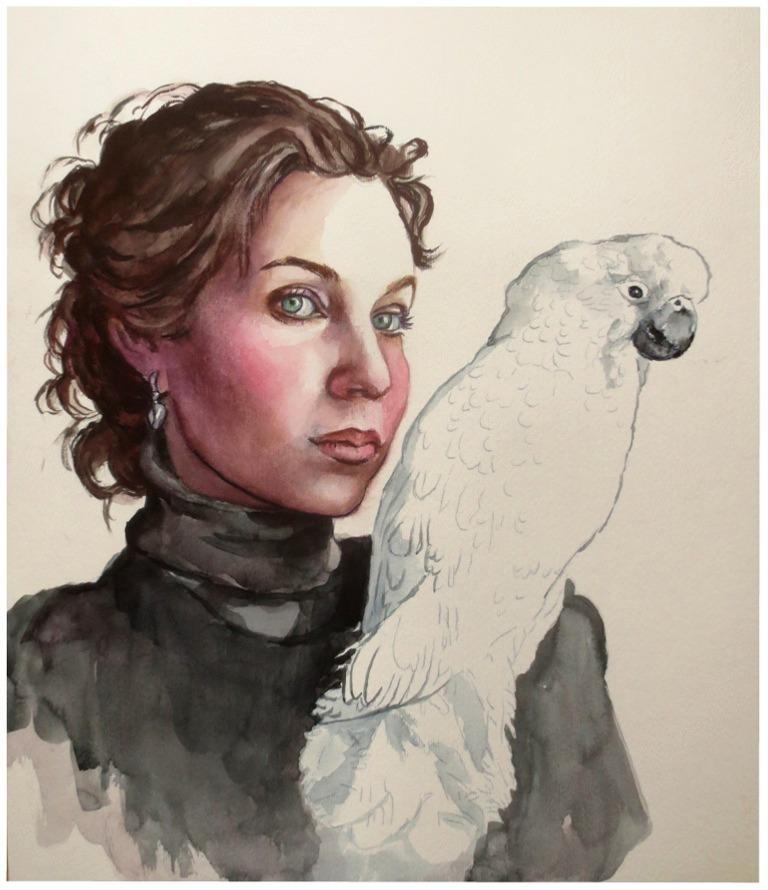 Girl with bird..watercolour by xxaihxx