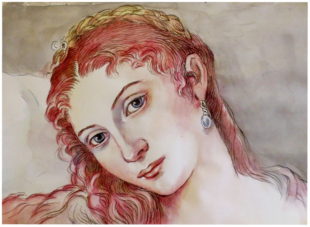 Venus of Urbino..pen and ink and colour wash by xxaihxx