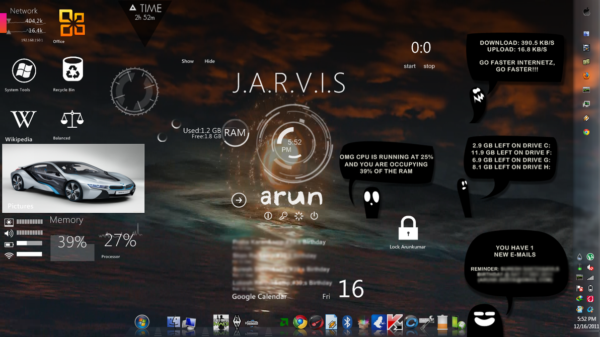 Rainmeter screenshot with mix of skins by aryanakanskh on for Deviantart rainmeter