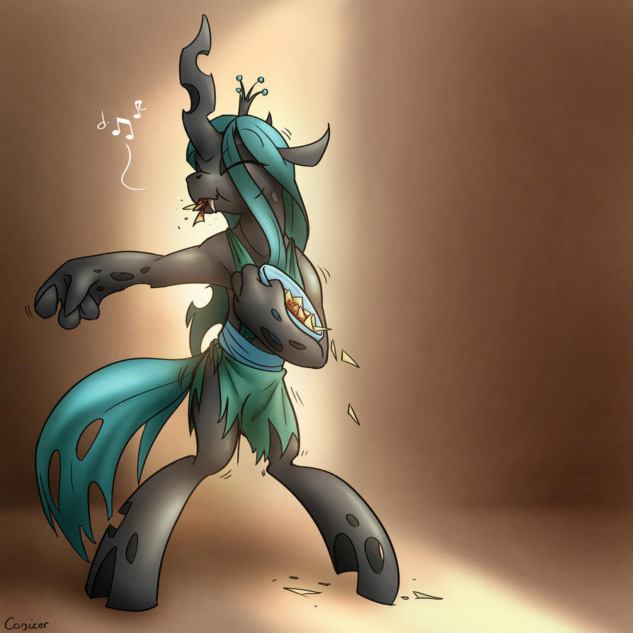 Saucy Chrysalis Doing the Salsa While Eating Salsa by Conicer