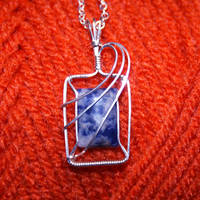 Sodalite and silver pendant by innerdiameter
