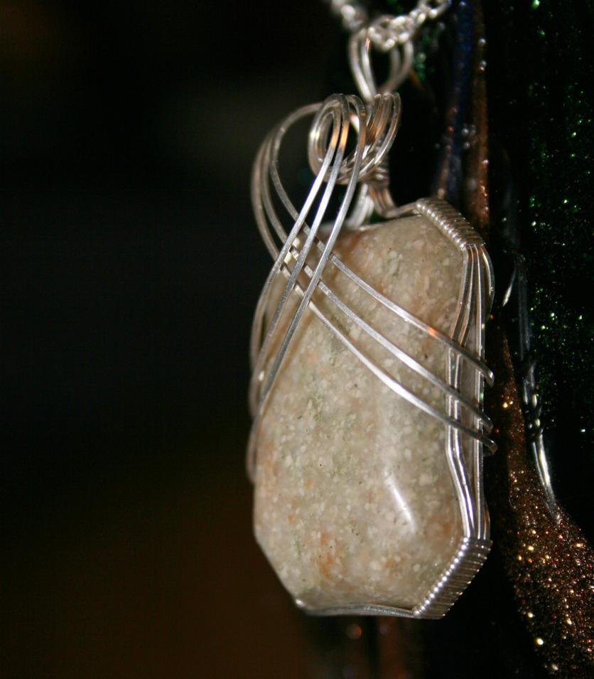 Rhyolite Pendant With Silver by innerdiameter