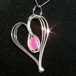 Pink Cat's Eye Heart Pendant
