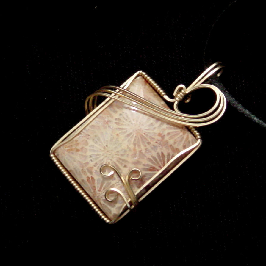 Fossil Coral Pendant in Gold by innerdiameter