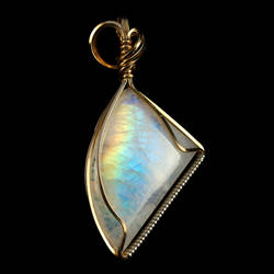 Moonstone Pendant in Gold Filled Wire by innerdiameter