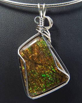 Ammolite Silver Pendant
