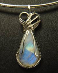 Moonstone Pendant in Silver Wire