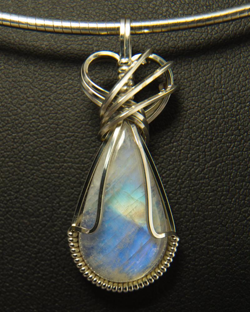 Moonstone Pendant in Silver Wire by innerdiameter