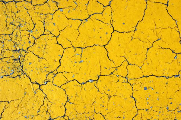 Cracks on Yellow Asphalt by GrungeTextures