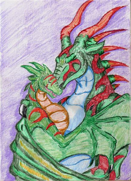 Dragoness and hatchling by Twylyght99