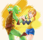 TMNT:Michelangelo and April