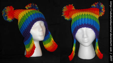 Knitted Rainbow Hat for ManiacalArtist