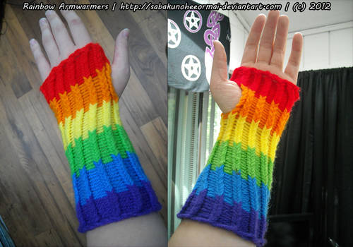 Knitted Rainbow Armwarmers