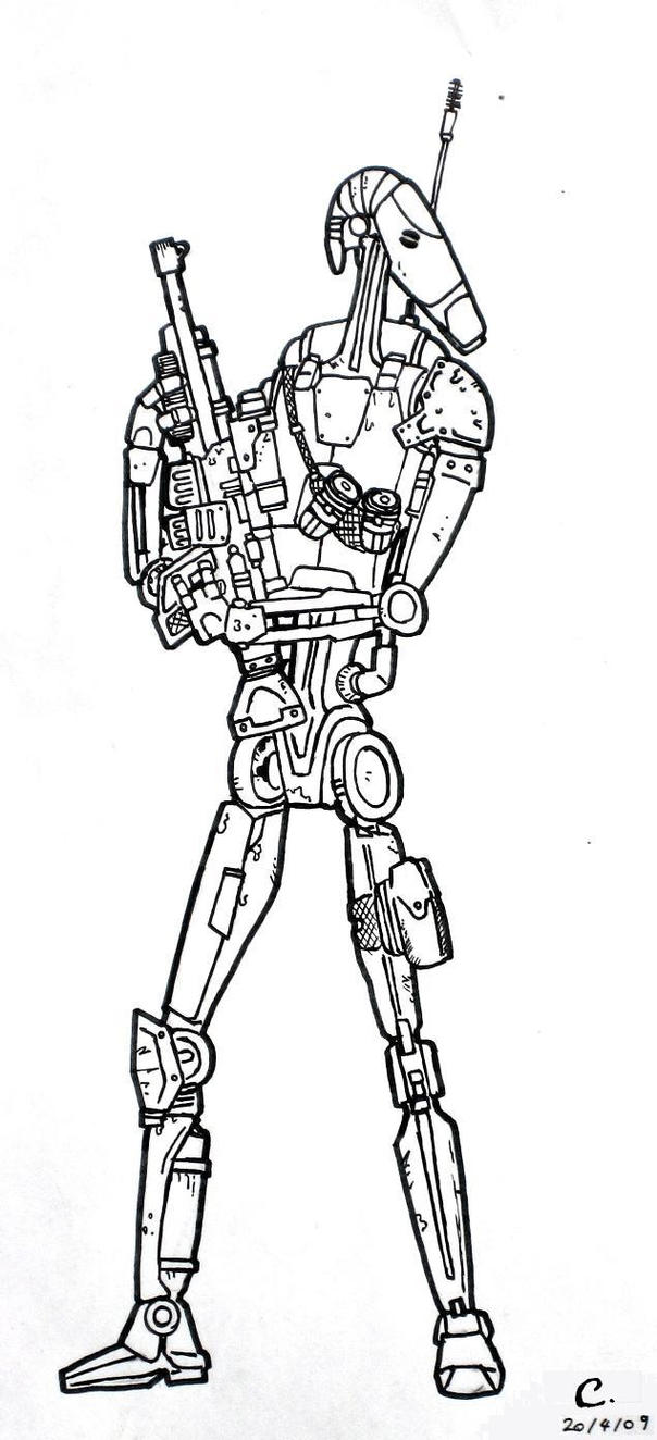 Star Wars Battle Droid Coloring Pages Sketch Coloring Page