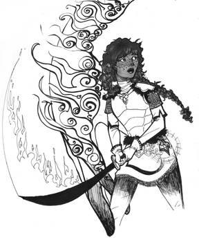 INKTOBER 2/31 - TESV: Dragonborn adventurer, Amina