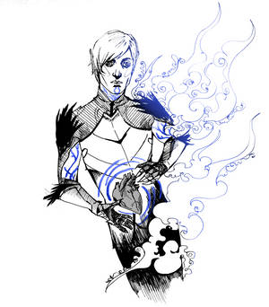 INKTOBER 7/31 - Fenris, Lyrium Ghost